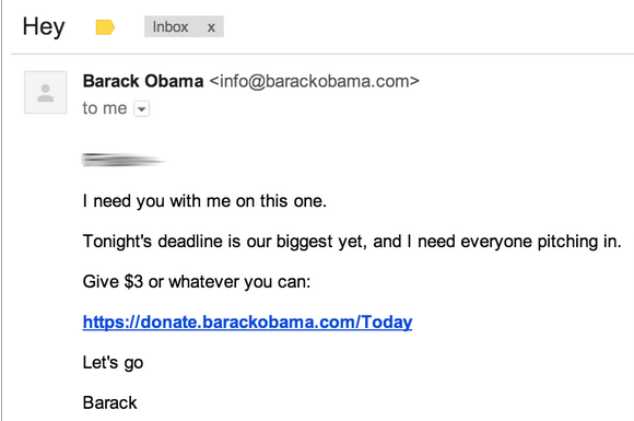 This is an example of Obama's email campaign