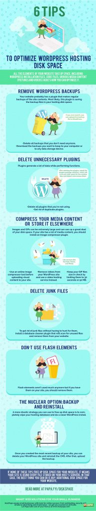 Infographic: 6 tips to optimize your WordPress disk space