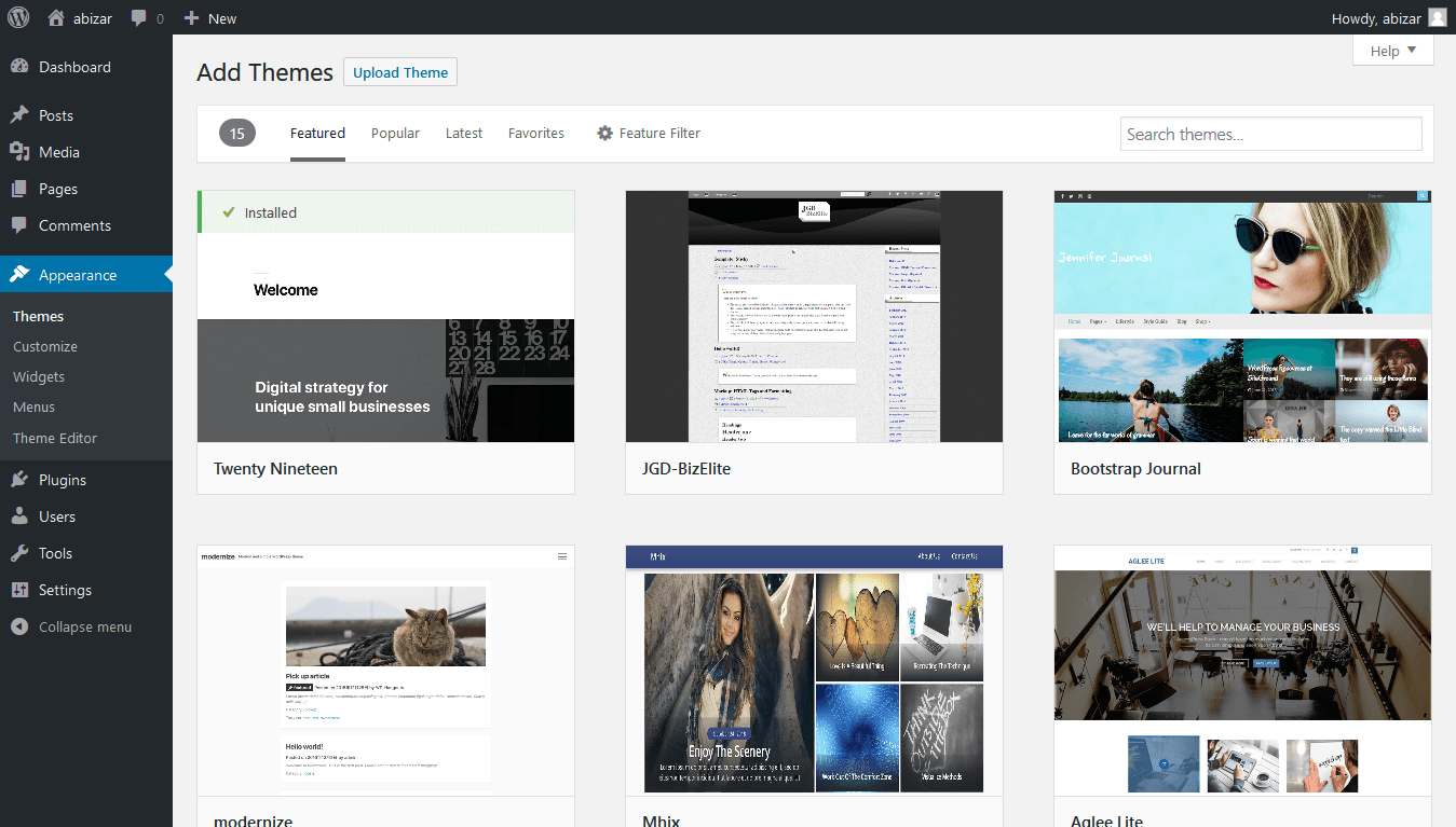 Choose one of the themes wordpress has for you