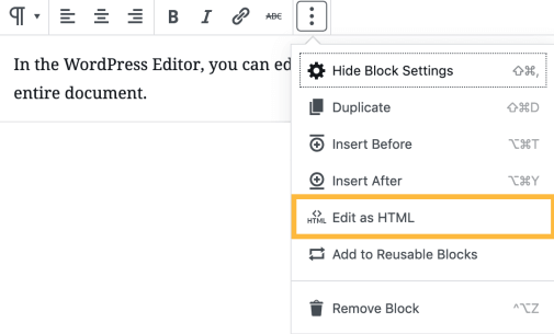 You can change from visual editor to HTML as wanted