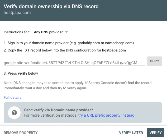 You need to verify your domain ownership in google search console