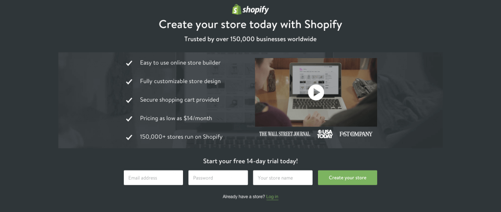 Shopify landing page is a great example