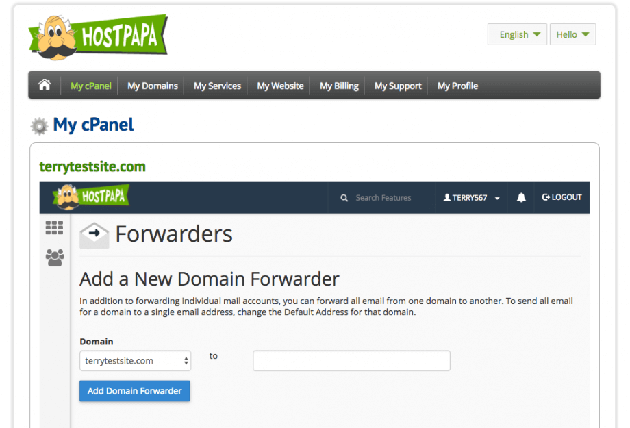 Domain forwarding in cPanel