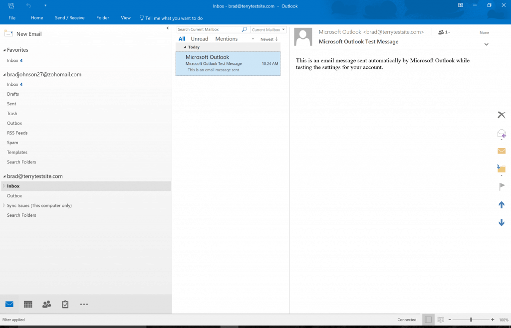 Viewing your accounts in Outlook