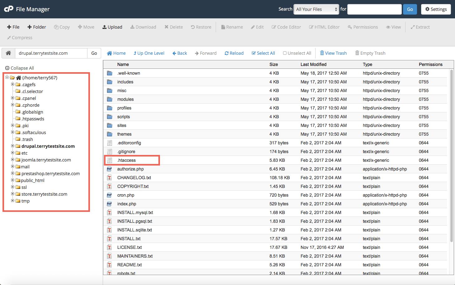 .htaccess file listing