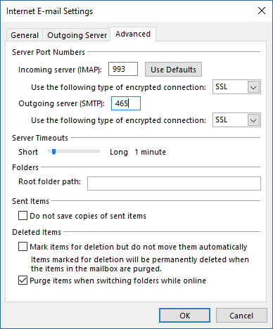 Outgoing Port Settings