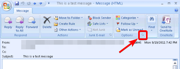 Screenshot of the Outlook 2007 options button