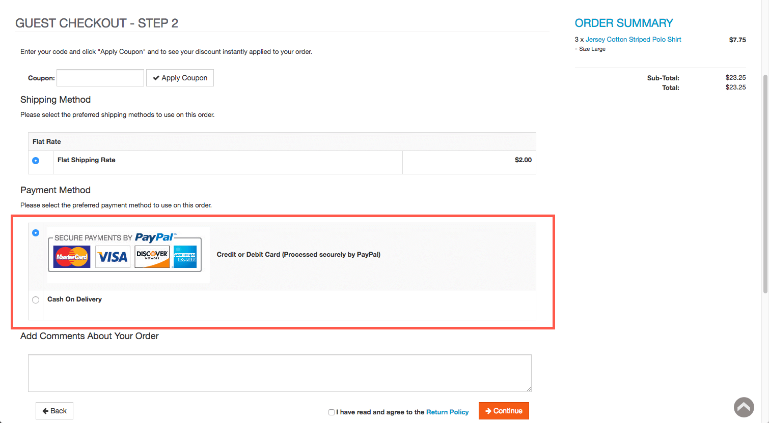 PayPal Payments Pro button in checkout