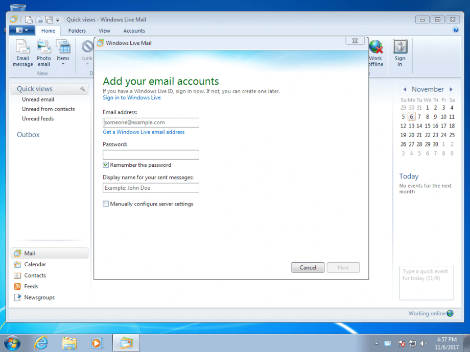 Windows Live Mail configuration