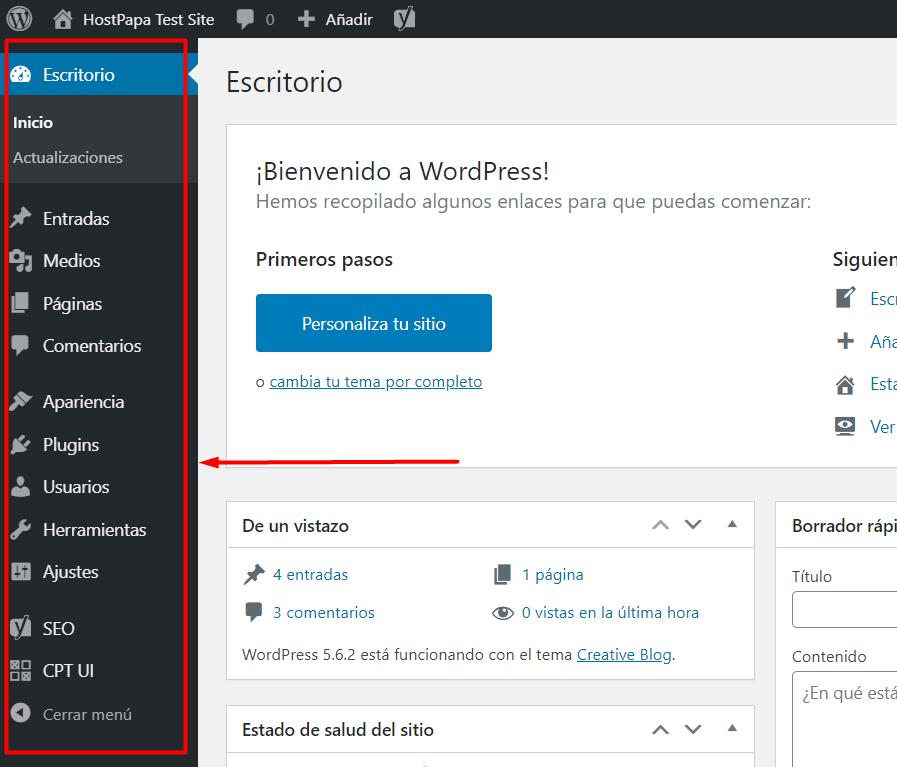 Wordpress dashboard 3